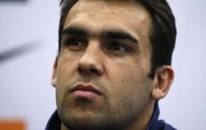 David Marty of the French rugby team answers reporters after training in Marcoussis, southern Paris