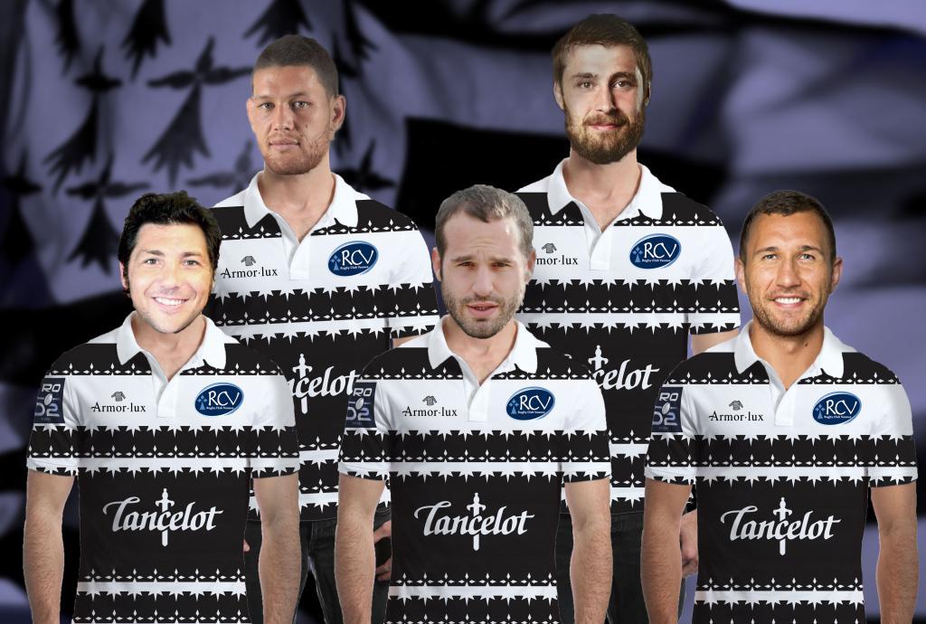 Les joueurs bretons mythiques posent fièrement avec leurs nouveaux maillots. De gauche à droite : Biron Ker'leher , Tawerec Kerr-Barlow, Frédérik Michalac'h, Julien Ledevedec et Couadec Ouper